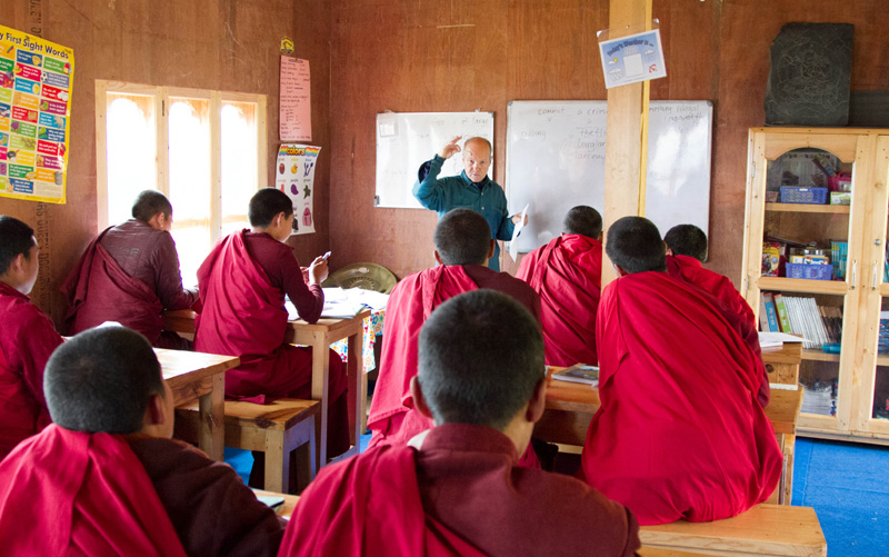 Ian teaching monks in a Budhist monastery in Bhuthan