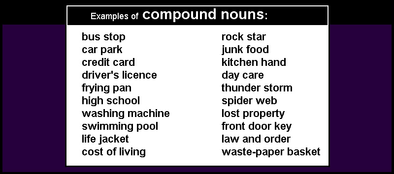 nouns which have two or more words