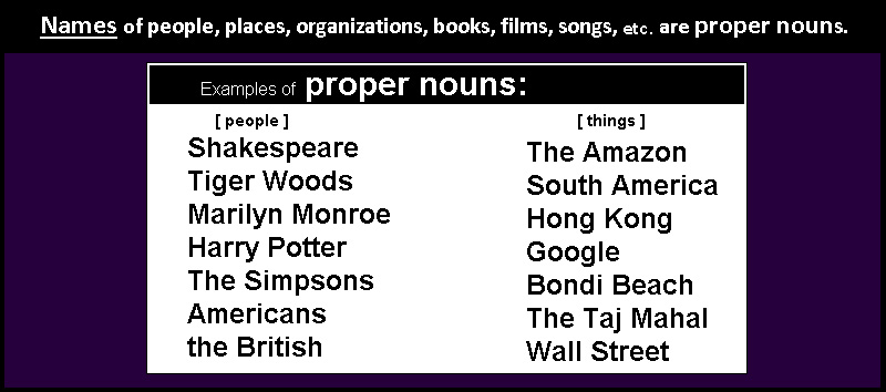 Names of people and places are proper nouns.