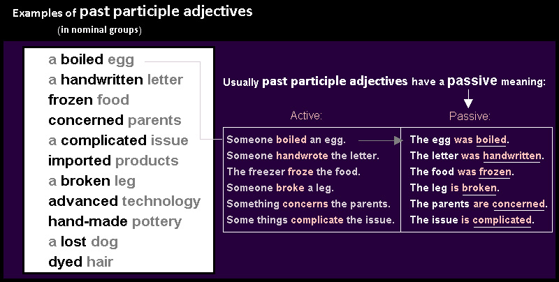 Examples of past participle adjectives