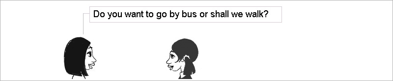Do you want to go by bus or shall we walk?