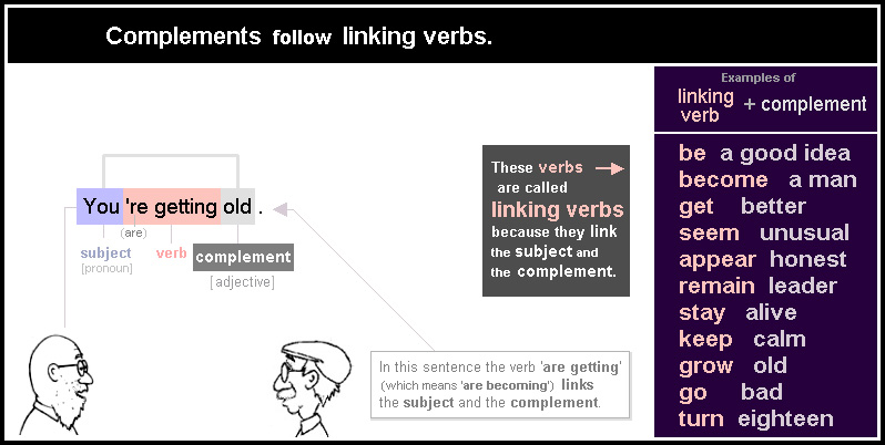 Complements follow linking verbs.