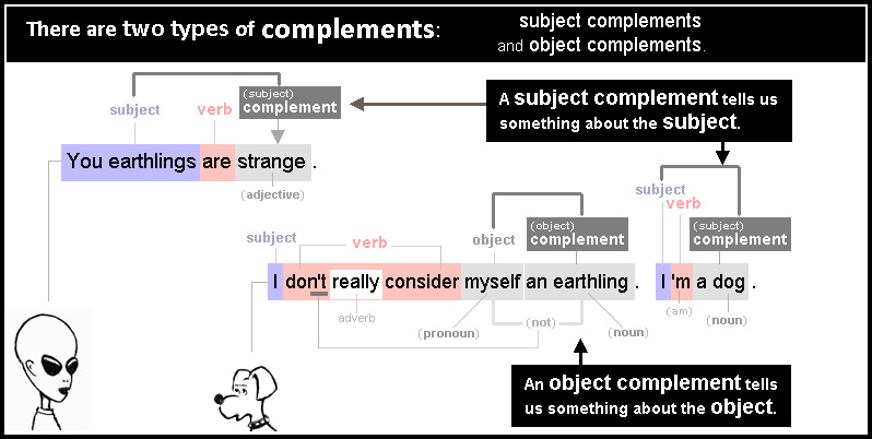There are two types of complement: subject complements that refer to the subjec, and object complements that give information about the object.