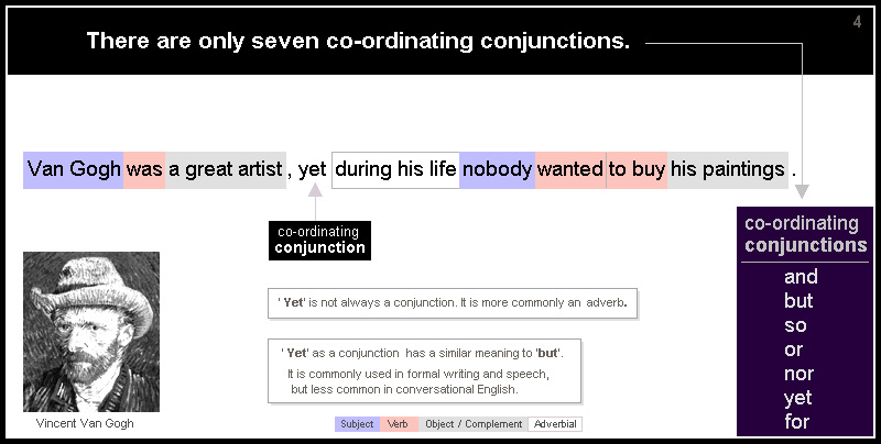 There are only seven co-ordinating conjunctions: and, or, but, so, nor, yet and for. Example sentence: Van Gogh was a great artist , yet during his life nobody wanted to buy his paintings. In this sentence 'yet' is a conjunction. It is more commonly an adverb. 'Yet' as a conjunction has a similar meaning to 'but'. It is commonly used in formal writing and speech, but less common in conversational English.