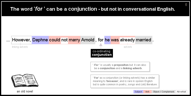 The word 'for ' can be a conjunction - but not in conversational English. ... However, Daphne could not marry Arnold , for he was already married. In this sentence 'for' is a conjunction but 'for ' is usually a prepositon. 'For' as a conjunction (or linking adverb) has a similar meaning to 'because', and is rare in spoken English but is quite common in poetry, songs and (old) literature.